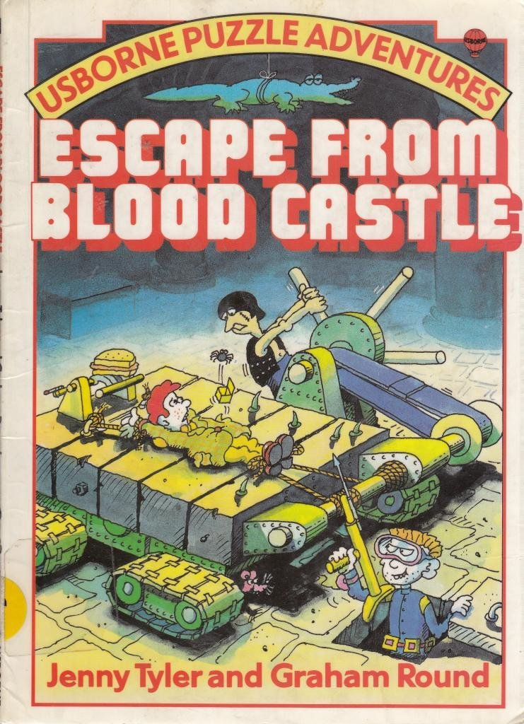 Original 1985 cover of Escape from Blood Castle Puzzle book, showing a red haired boy on a rack.
